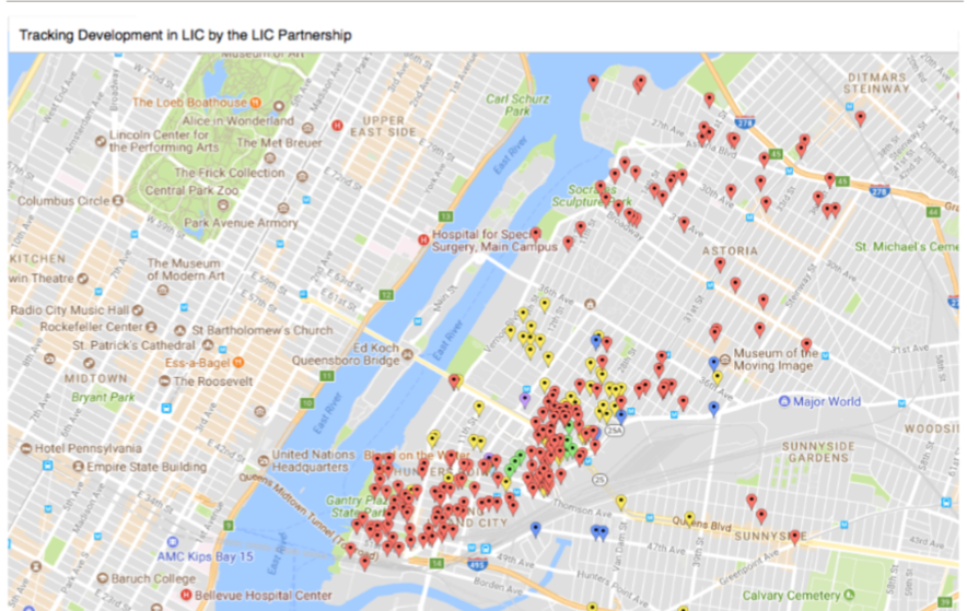 Map of LIC showing new development, from Recent Changes in LIC Report Cover.