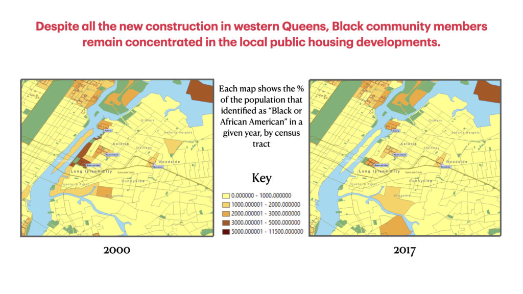 Two maps showing that the Black community remained concentrated in local public housing in 2000 and 2017.