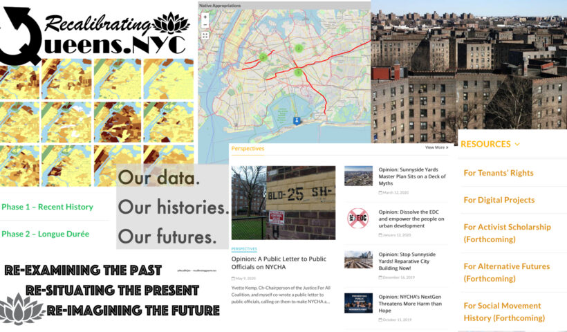 """Image shows a collage of maps and logos and images that help convey the """"essence"""" of this project."""
