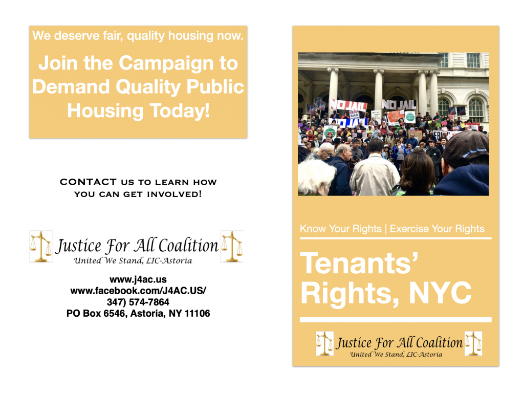 Coverpage of Tenants' Rights Booklet. For Decorative Purposes.