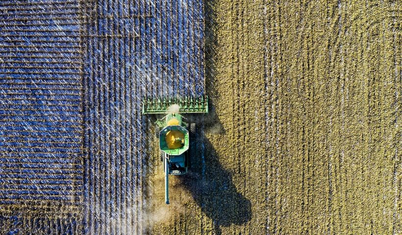 Aerial view of plow caring for field. For Decorative purposes.