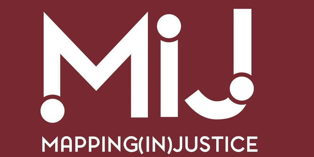Logo for Mapping (In)Justice Symposium, held at Fordham University in November 2019.