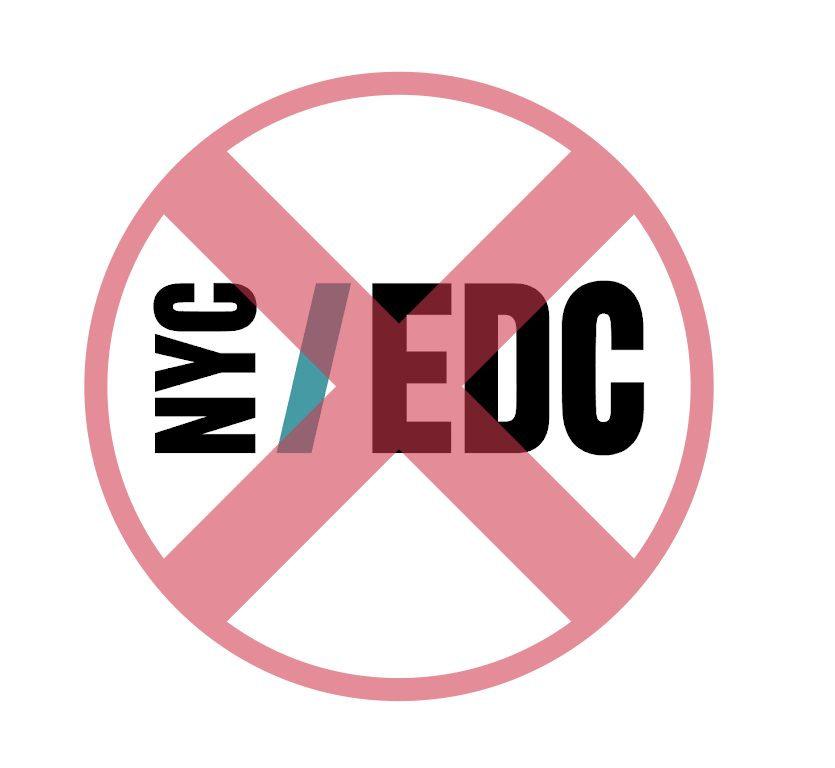 "Symbol showing ""x"" over NYCEDCs logo."